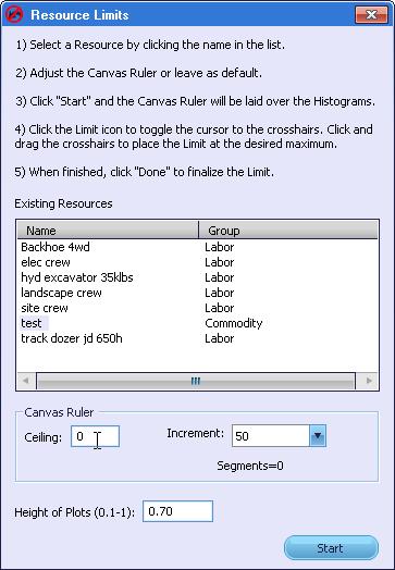 Resource Limits Window