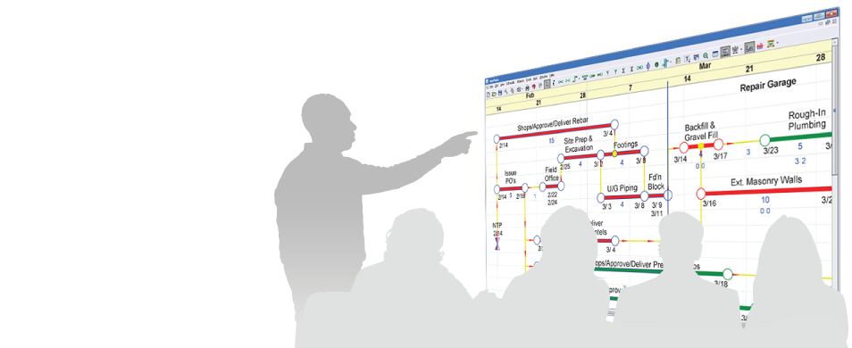 silhouetted people collaborating around a netpoint schedule